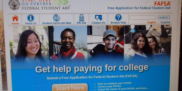 screenshor of the FAFSA website