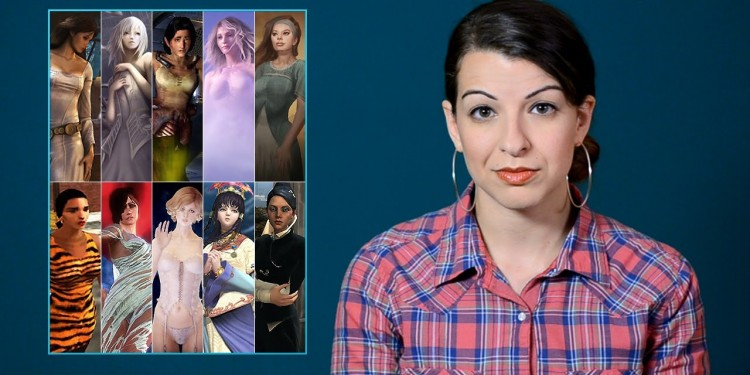 Anita Sarkeesian next to a compilation of pictures of women from video games.