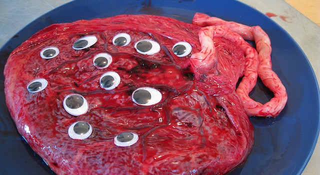 A placenta with googly eyes.