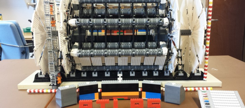 A close-up photo of the Lego model of the ATLAS detector at CERN.
