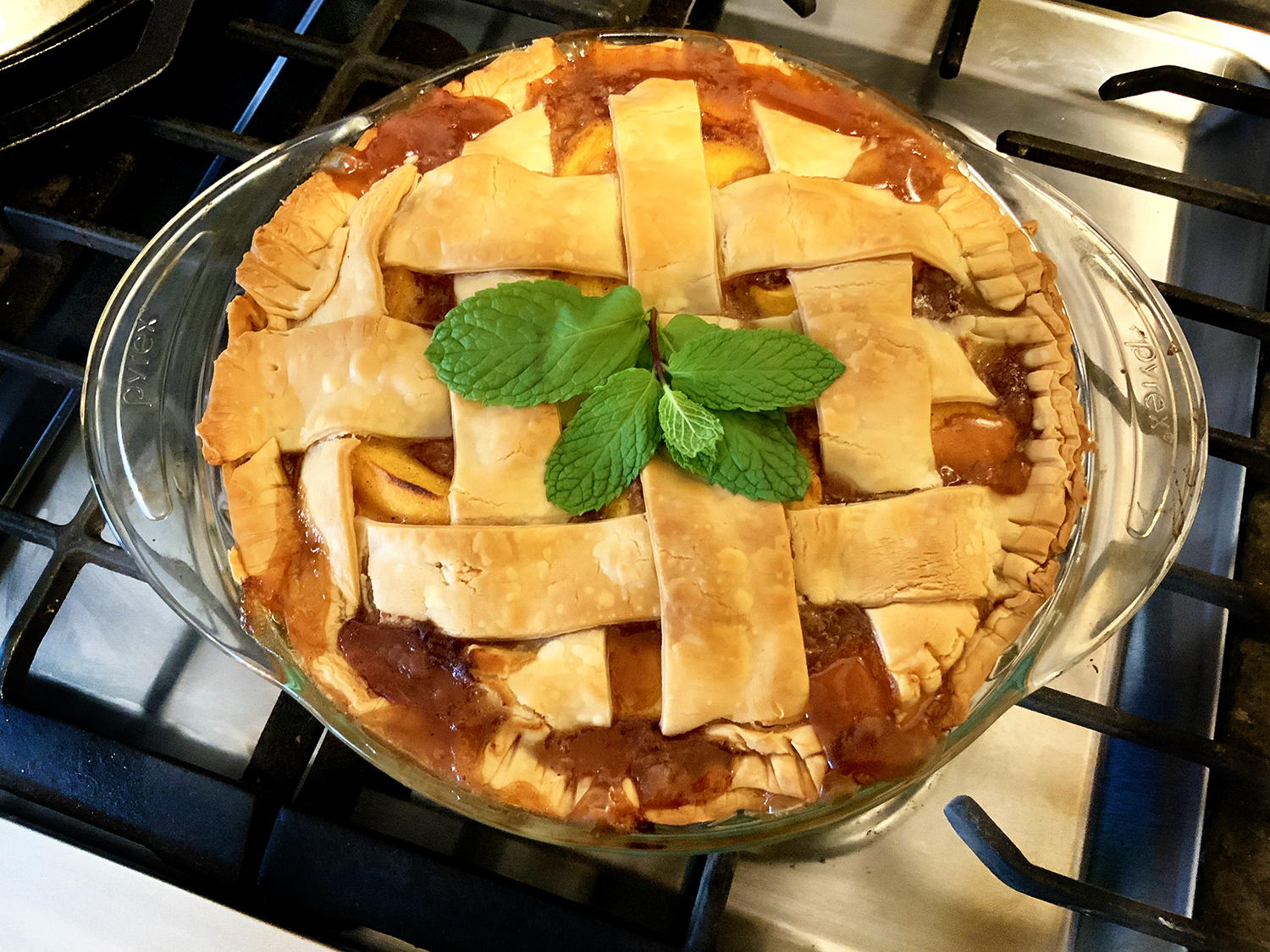 Peach Mint Pie Fresh from the oven!