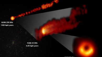 This composite image shows three radio-telescope views of the central region of the galaxy Messier 87 (M87)